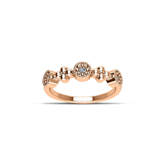 14K Rose Gold-Plated Cubic Zirconia Fashion Stackable Ring in Sterling Silver