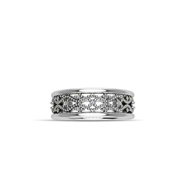 Cubic Zirconia Crown Fashion Ring in Sterling Silver