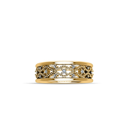 14K Yellow Gold-Plated Cubic Zirconia Crown Fashion Ring in Sterling Silver