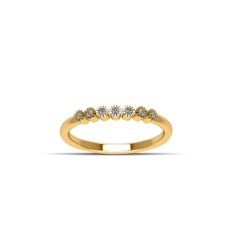 14K Gold-Plated Cubic Zirconia Fashion Stackable Ring in Sterling Silver