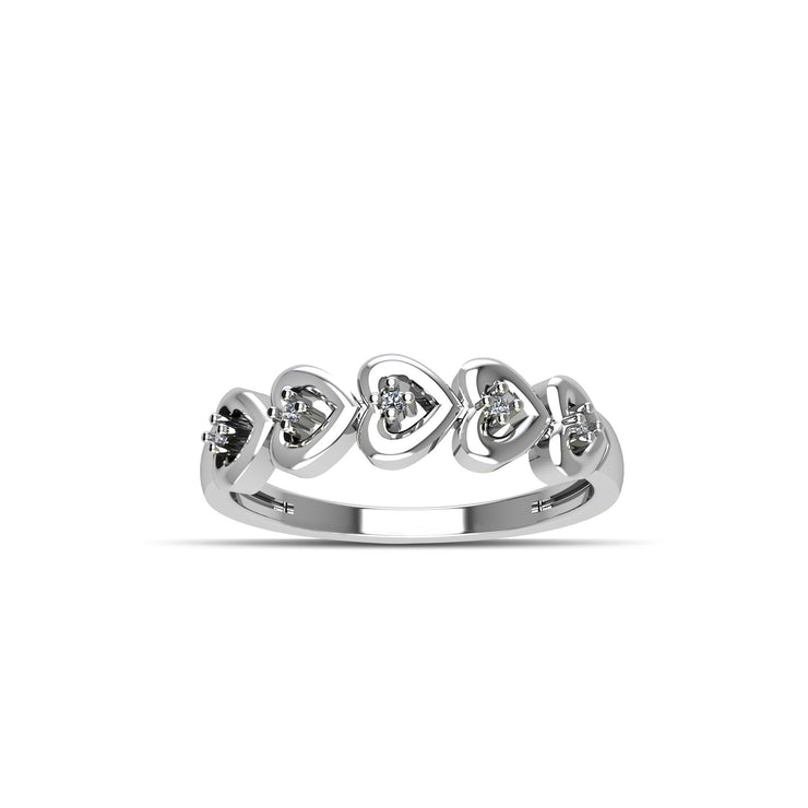 Cubic Zirconia Fashion Stackable Heart Ring in Sterling Silver