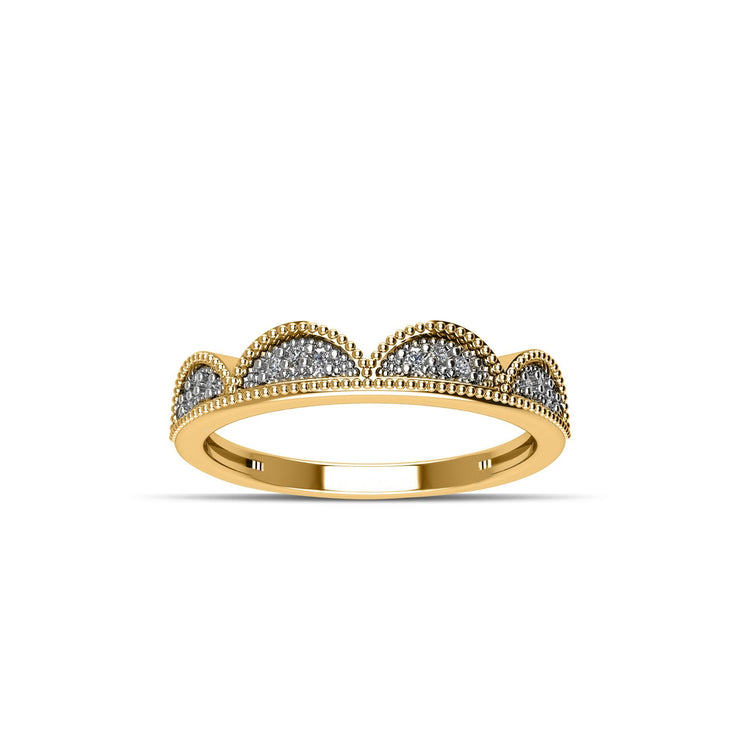 14K Yellow Gold-Plated Cubic Zirconia Fashion Stackable Ring in Sterling Silver