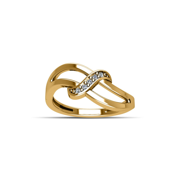 14K Yellow Gold-Plated Cubic Zirconia Fashion Ring in Sterling Silver
