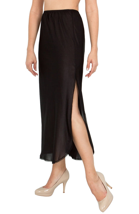 "BellaSous Luxury One Slit Half Slip Underskirt - 36"" 38"" - Nylon w/Lace Style 1100"