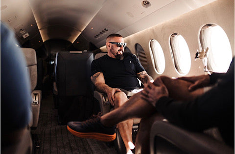 Andy sitting in a plane