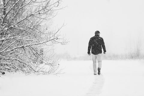 Andy walking in the snow