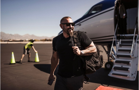 Andy leaving a jet
