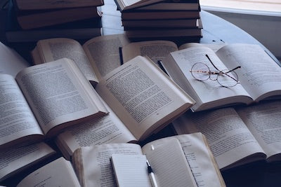 Books laying on a table