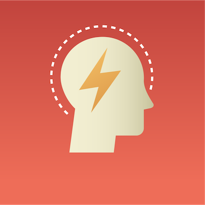 head with lightning bolt in middle