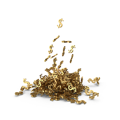 Money signs in a pile