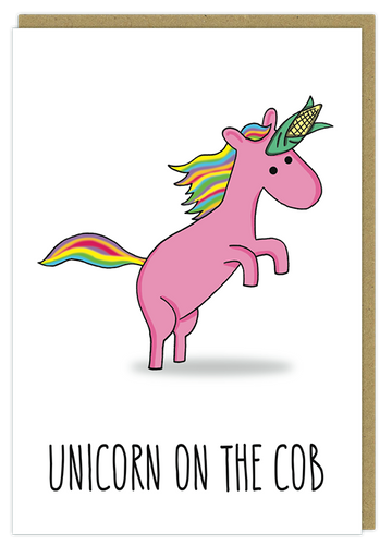 unicorn on the cob greeting card birthday pun