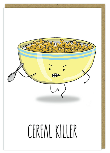 cereal killer pun greeting card birthday