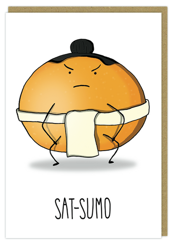 sat sumo wrestler funny pun greeting card birthday