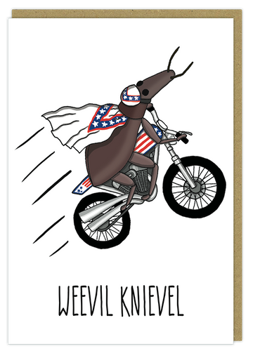 weevil knivel evil pun greeting card birthday funny