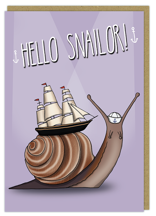 hello snailor sailor pun greeting card birthday