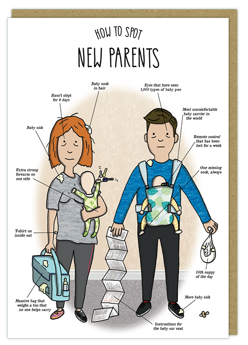 new parents new mum new dad humour greeting card new baby