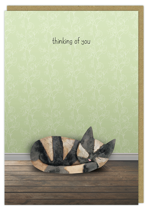 thinking of you sleeping cat with sympathy greeting card