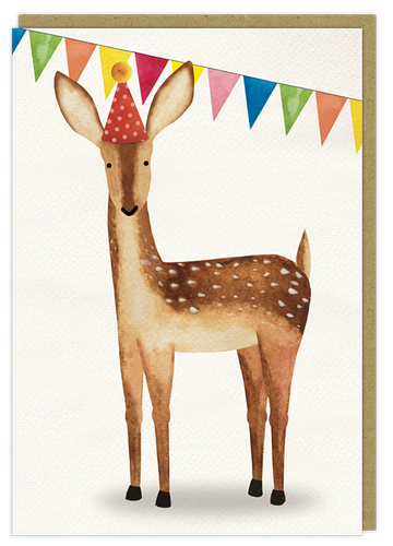 birthday deer watercolour art greeting card