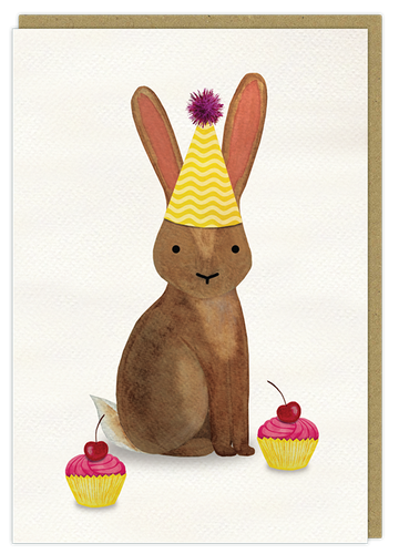 birthday rabbit watercolour art greeting card