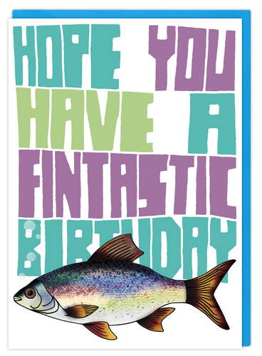 Fintastic Birthday funny pun christmas greeting card