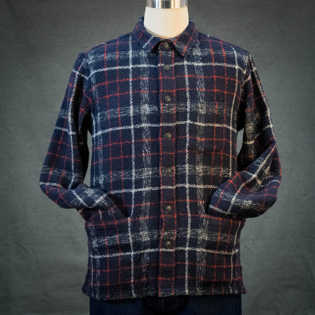 Corridor Navy Red Plaid Wool Overshirt