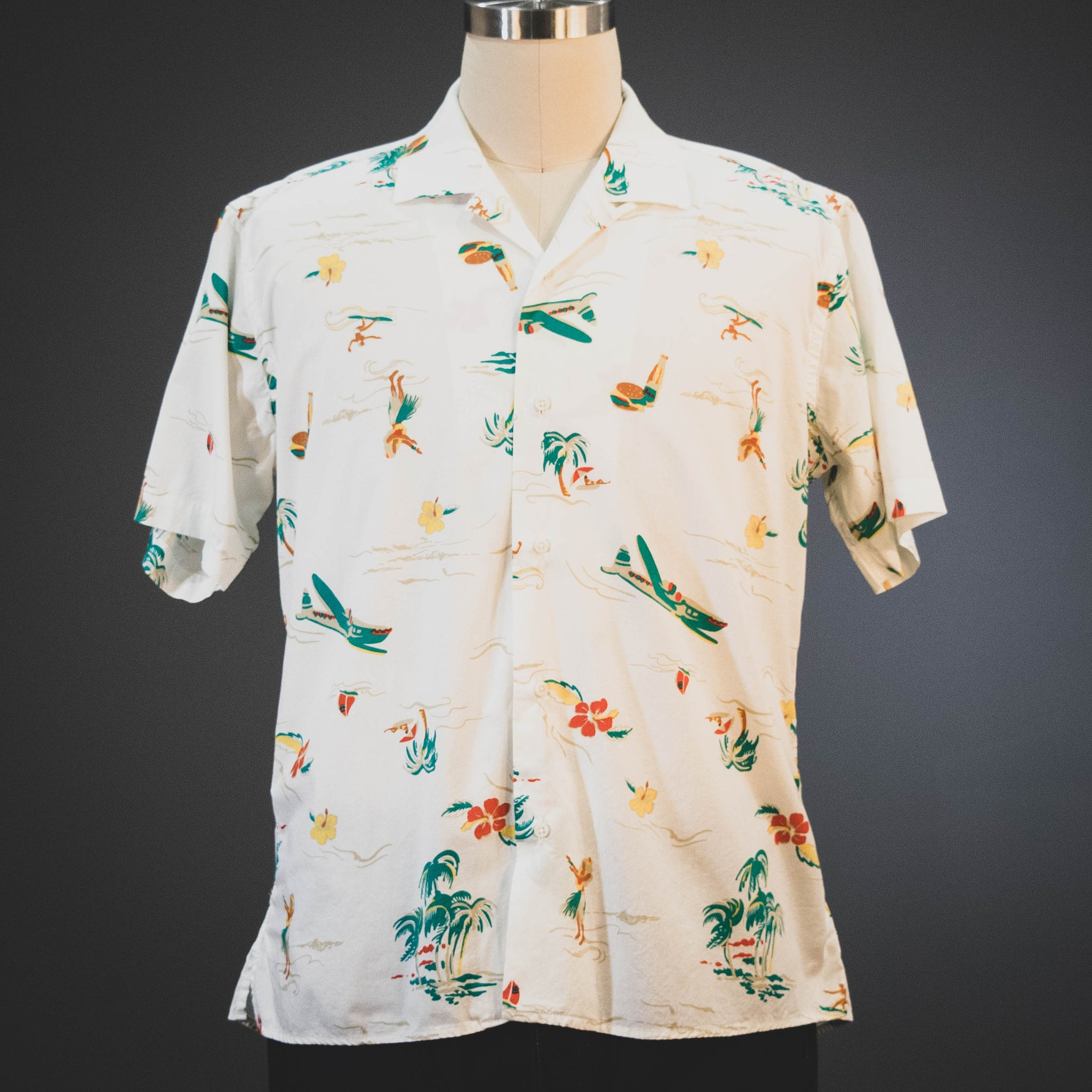 Gitman Vintage White Surf and Turf Camp Shirt