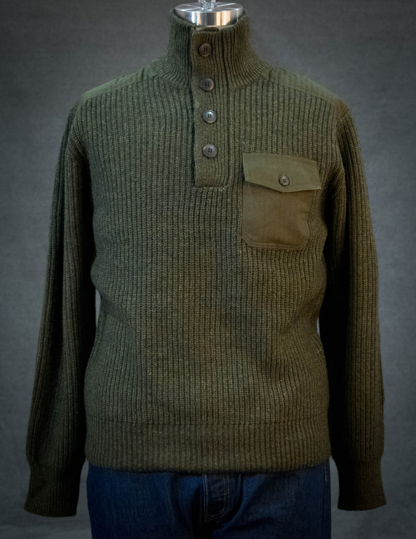 Schott Men's Stand Up Neck Wool Sweater Olive