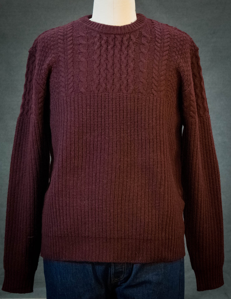 Schott Men's Half Knit Half Cable Sweater Burgundy