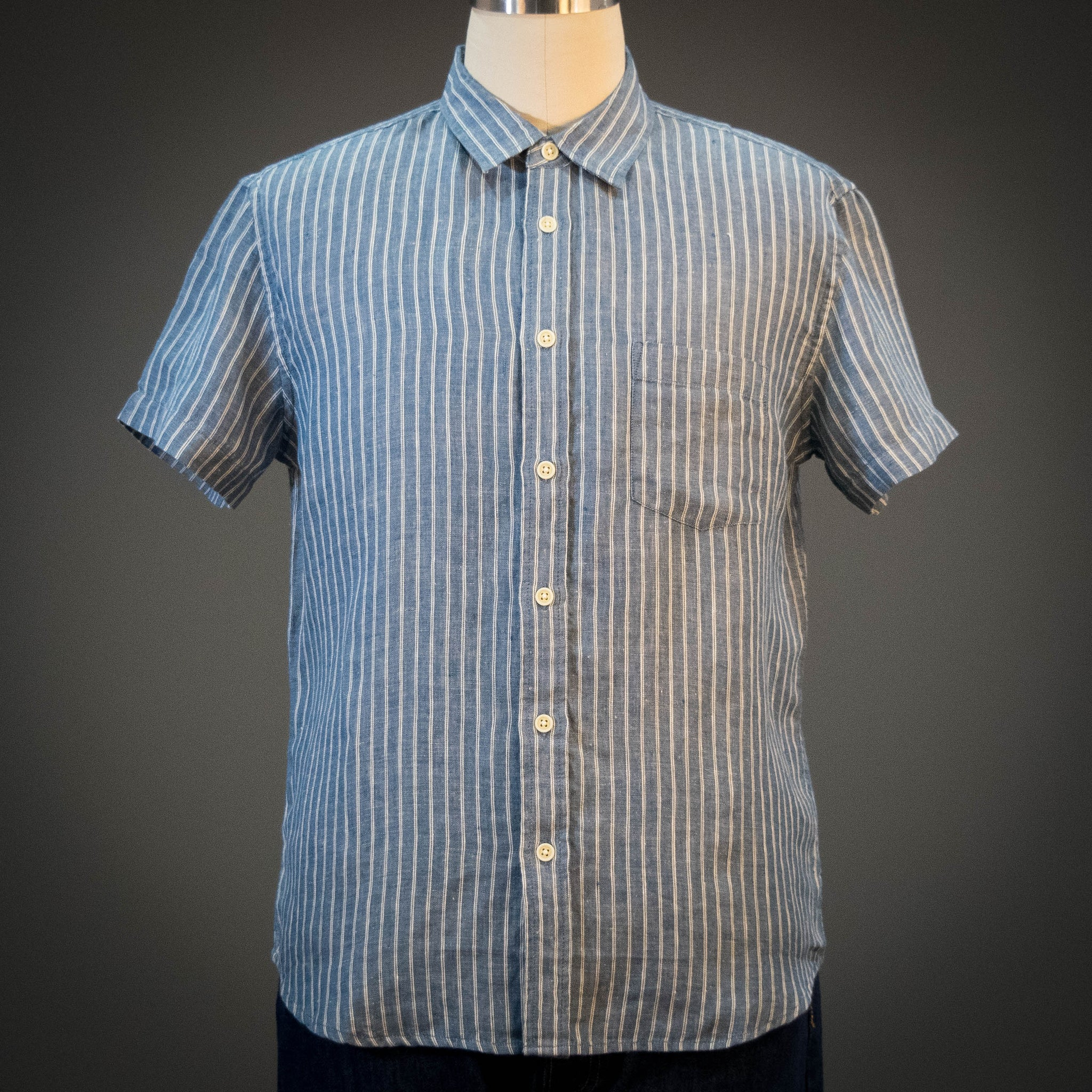 Corridor Blue Heavy Linen Stripe Short Sleeve Shirt