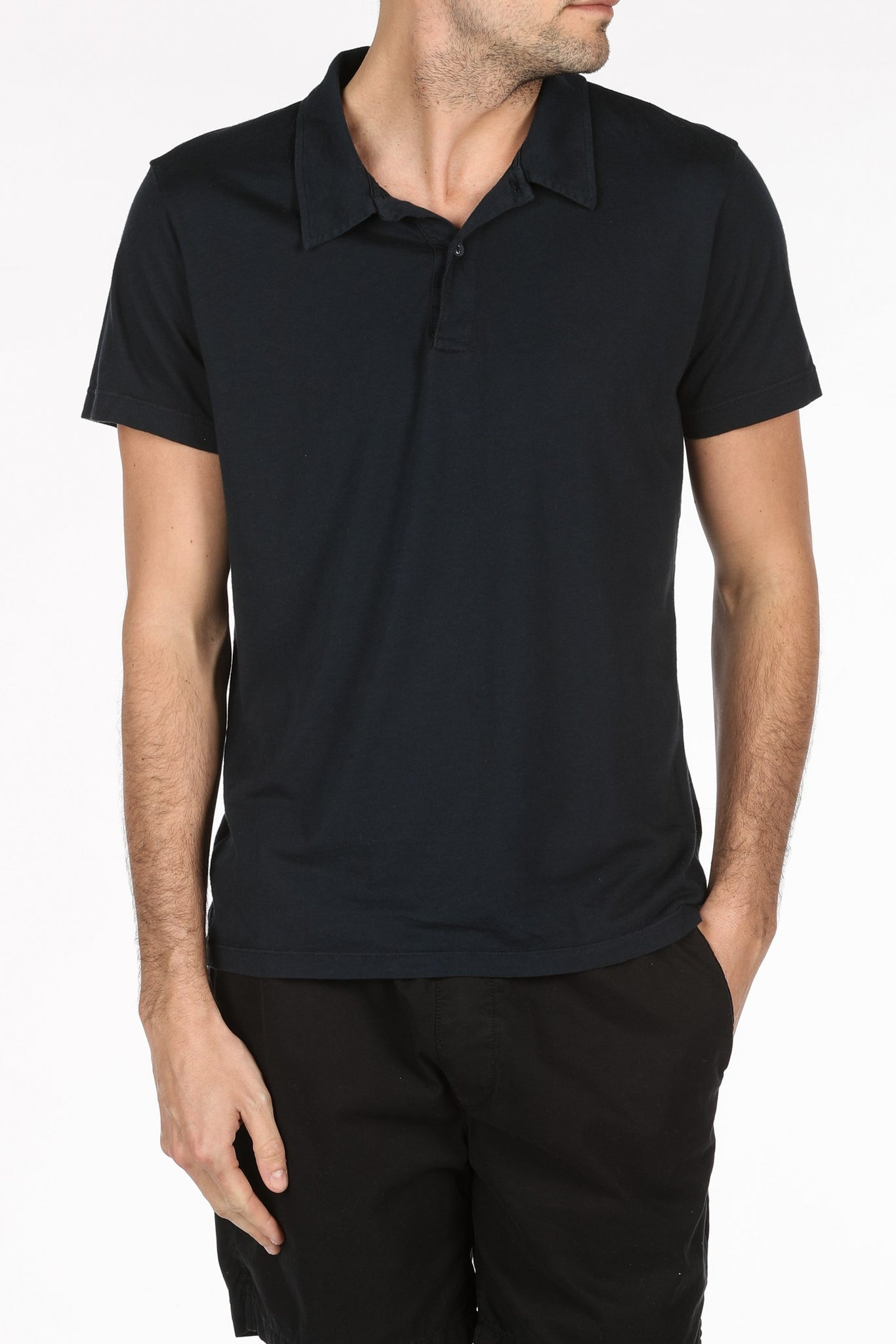 Save Khaki United Supima Jersey Polo - Black