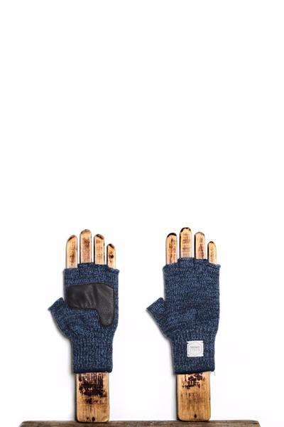 Upstate Stock Melange Fingerless Ragg Wool Glove With Deerskin