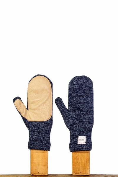 Upstate Stock Melange Ragg Wool Mittens With Deerskin
