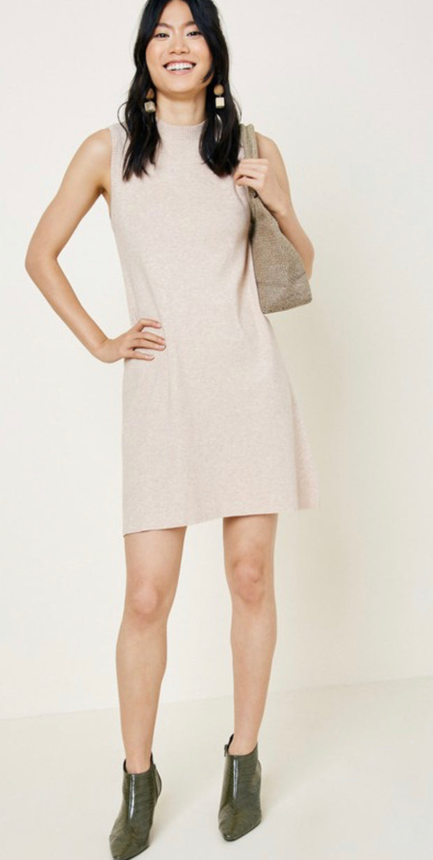 Knit Mock Neck Sweater Dress in Oatmeal