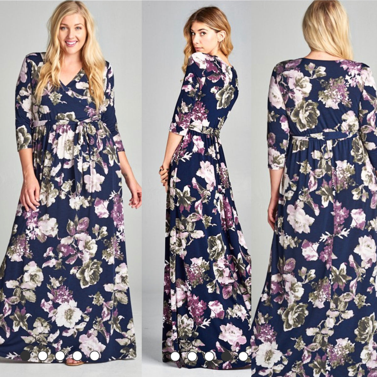 """Sweet Magnolia"" - Navy Floral Maxi (Curvy Ladies Available!)"
