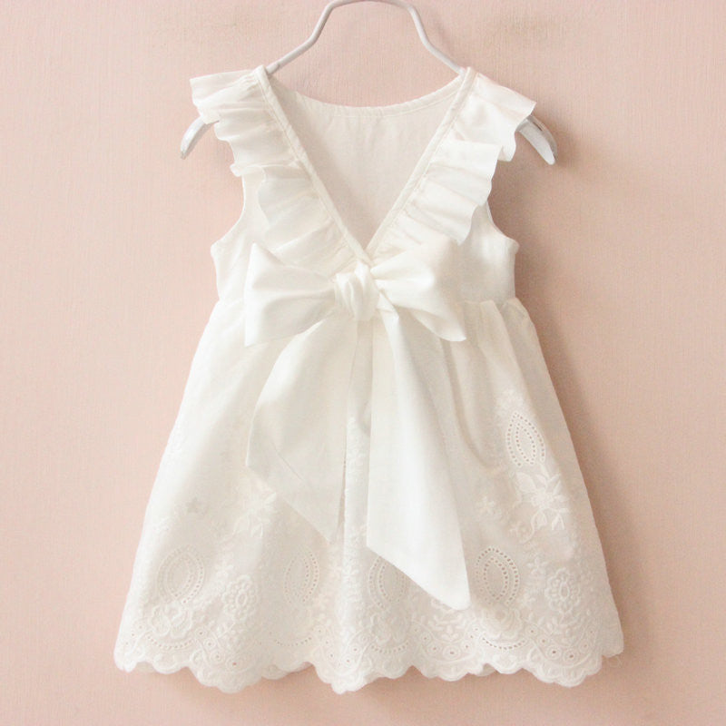 Simply Sweet - White dress with V-back cutout