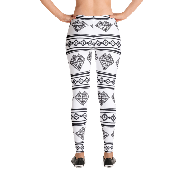 White Heart Design Leggings
