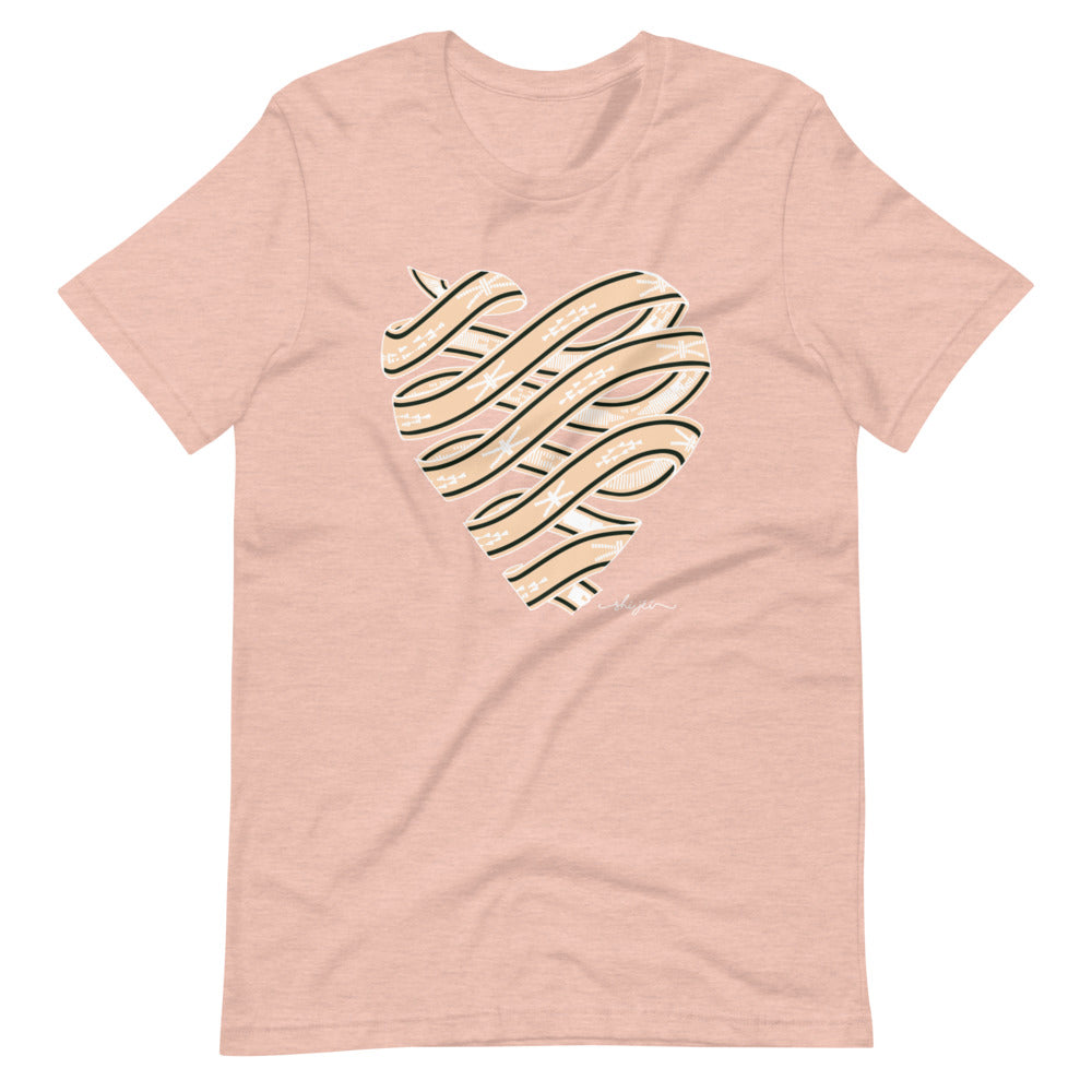 Neutral Colored Sash Belt Heart T-Shirt