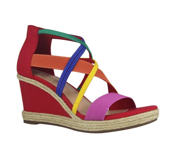 Tacara Stretch Platform Wedge Sandal with Memory Foam