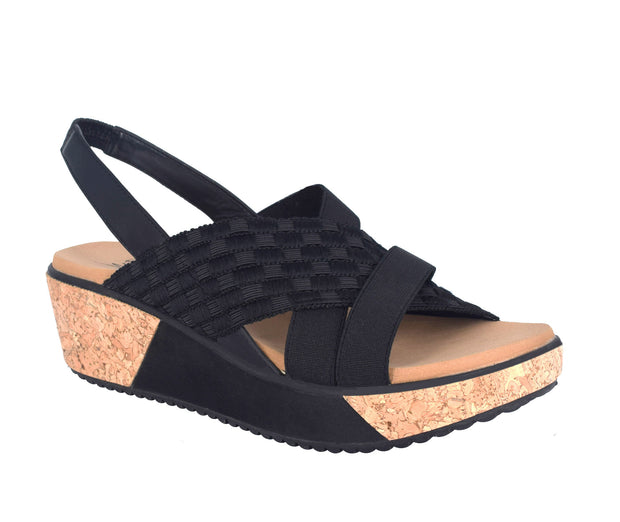 Jolene Stretch Elastic Platform Wedge Sandal