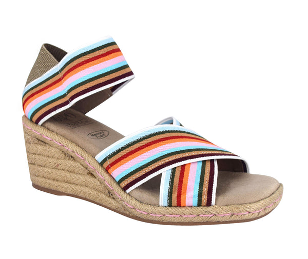 Nayeli Stretch Elastic Espadrille Wedge Sandal