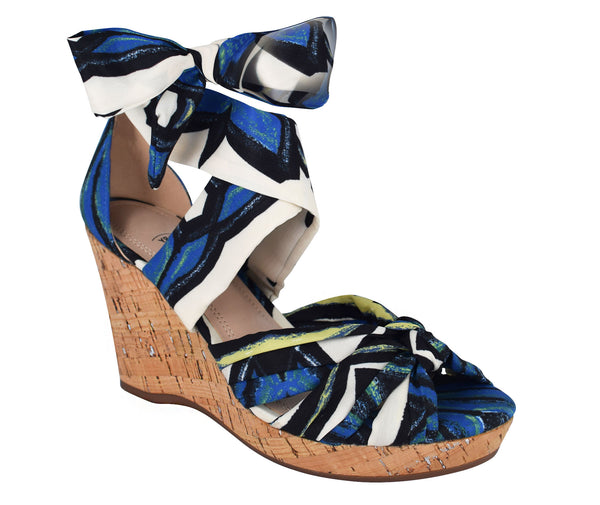 Ohanna Ankle Wrap Wedge Sandal with Memory Foam