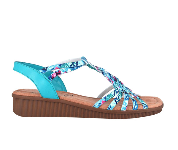 Rosette Stretch Sandal with Memory Foam