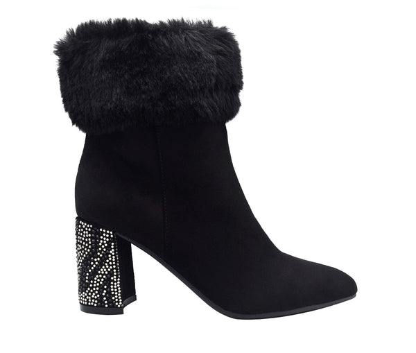 Villa Bling Fur Cuff Bootie with Memory Foam