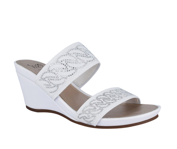 Vernice Stretch Wedge Sandal with Memory Foam