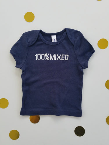100% Mixed Navy Tee- Infant