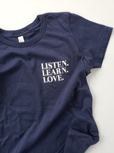 Listen. Learn. Love.-Youth Unisex Navy Tee