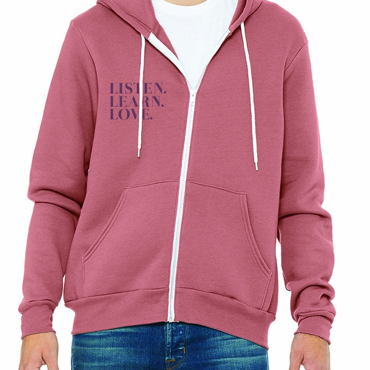 Listen. Learn. Love Zip Up Hoodie Desert Rose