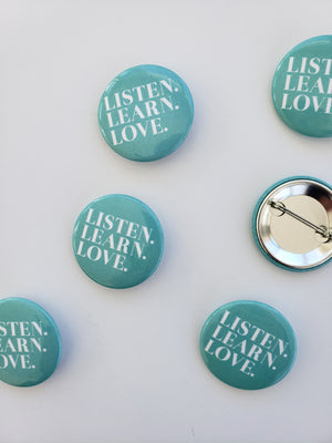 Listen. Learn. Love. Spring Blue Button