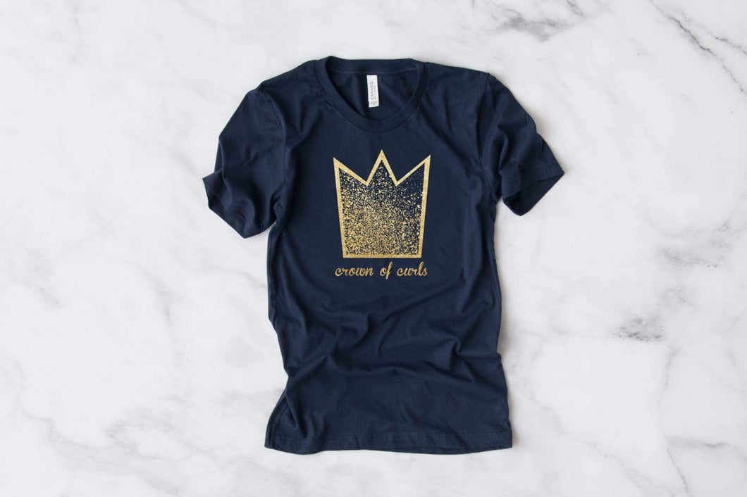 Crown of Curls Tee Gold- Adult