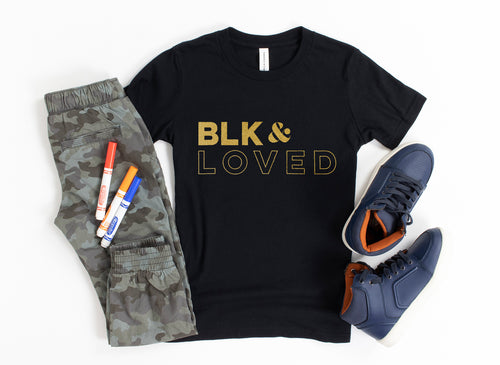 BLK & Loved Gold Foil-Youth Tee